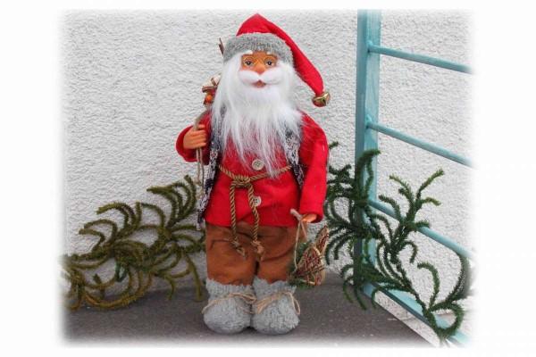 Santa Claus 40 cm Weihnachtsmann Schaufenster Fenster Deko hochwertig #5 braune Hose karierte Weste