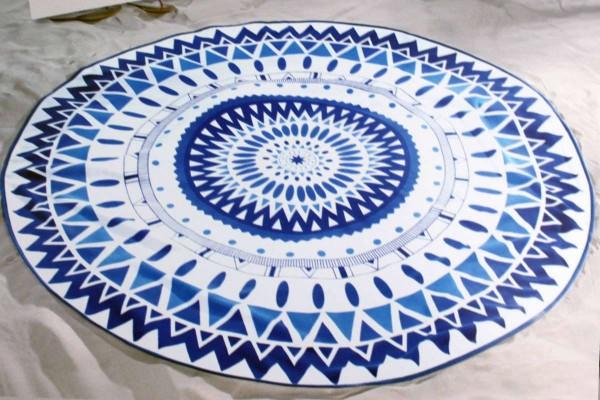 Strandlaken rund Ø 150 cm Strandtuch 2 Designs Mandala schnelltrocknend
